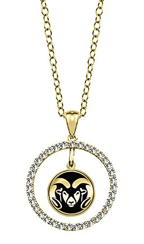 Colorado State University Rams 14kt Yellow Gold and Diamond Circle Charm Pendant by College Jewelry