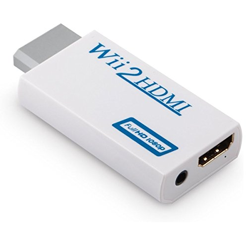 Wii TO HDMI Converter, RedHoney Low Latency 480p Wii2HDMI with 3.5mm Audio Video Output Automatic Upscaler Adapter Support NTSC 480I PAL 576I All Wii Display Modes (white)