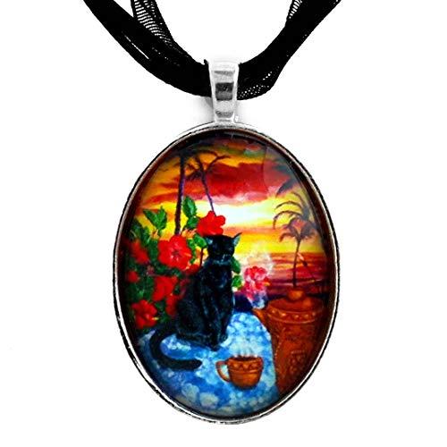 - Laura Milnor Iverson Kona Kat Black Cat in Hawaiian Sunset Coffee Pot Handmade Art Pendant