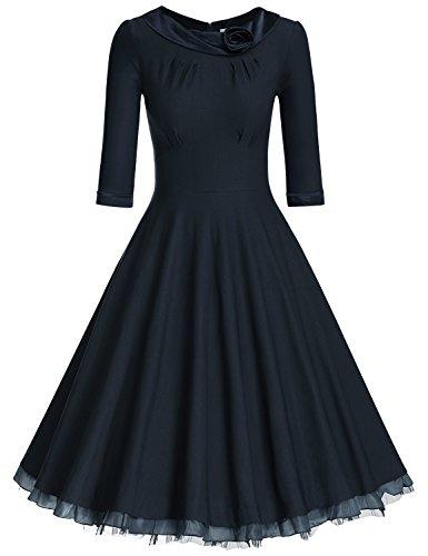 MUXXN Women's 1950s Vintage 3/4 Sleeve Rockabilly Swing Dress(L,Blue)