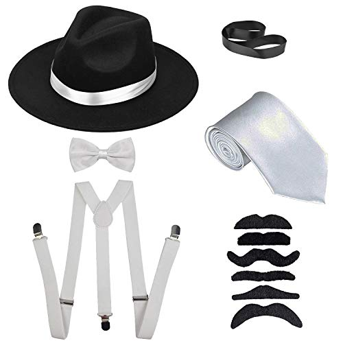 Men's Roaring 1920s Set Manhattan Fedora Hat,Y-Back Suspenders & Pre Tied Bow Tie, Gangster Tie & Fake Mustache (OneSize, Blackhat & Whitesuspenders) ()