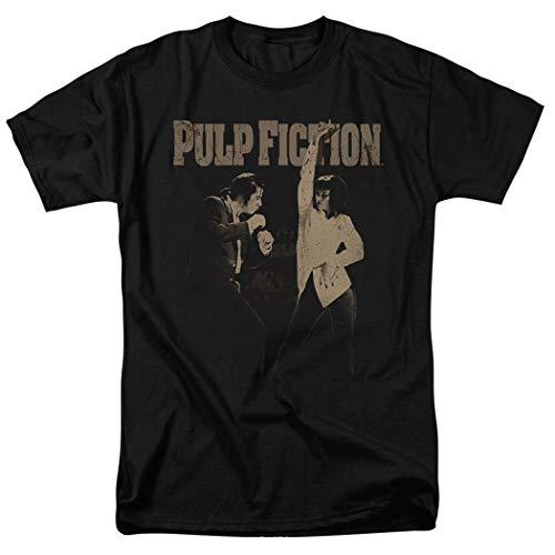 Pulp Fiction Movie Uma Thurman John Travolta T Shirt & Exclusive Stickers (Medium) Black