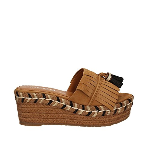s Apepazza in brown leather suede with fringe and nappe on the upper band. Comfortable 6cm wedge. (Apepazza Leather Sandals)