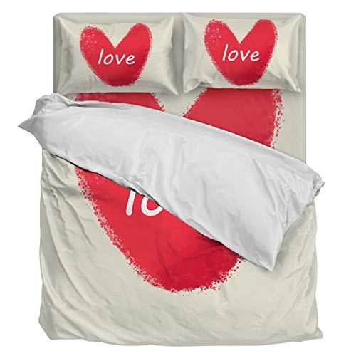 Bedding Duvet Cover Set Ultra Soft 4 Piece(1 Duvet Cover+1 Flat Sheet + 2 Pillowcases) Red Heart Valentine's Day Love Twill Plush Comforter Cover Set Full