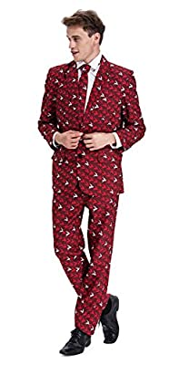 YOU LOOK UGLY TODAY Mens Christmas Costumes Suit Funny Bachelor Party Suit Jacket with Tie by