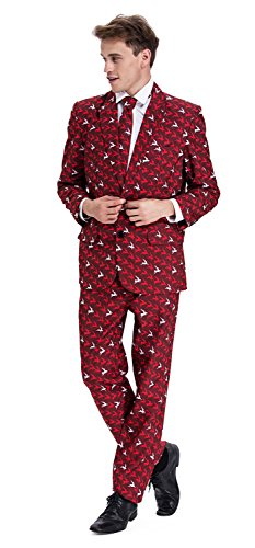 YOU LOOK UGLY TODAY Mens Bachelor Party Suit Funny Costume Novelty Xmas Jacket with Tie FLY ELK-Large