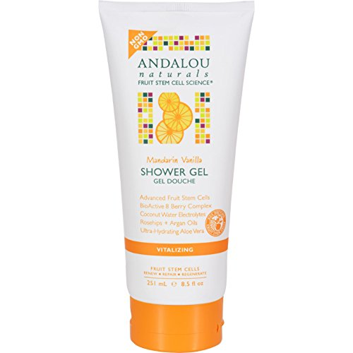 Andalou Naturals Shower Gel - Mandarin Vanilla Vitalizing - Age Defying - For Soft and Healthy Skin - 8.5 fl oz (Pack of -
