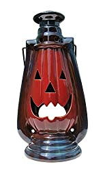 Clovers Garden Halloween Pumpkin Lantern with Handle, Glazed Stoneware - Decorative Table or Hanging Lantern for Candle or LED Light – Indoor, Outdoor
