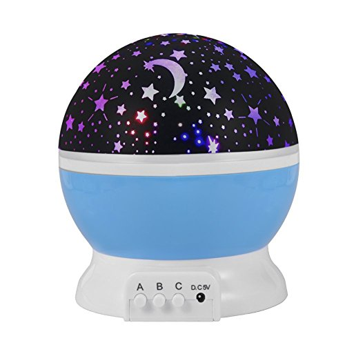 Qianyi LED Night Light Lamp Romantic 3 Modes Colorful Star Moon Sky Rotating Starlight Projector for Children Kids Baby Bedroom (Blue)