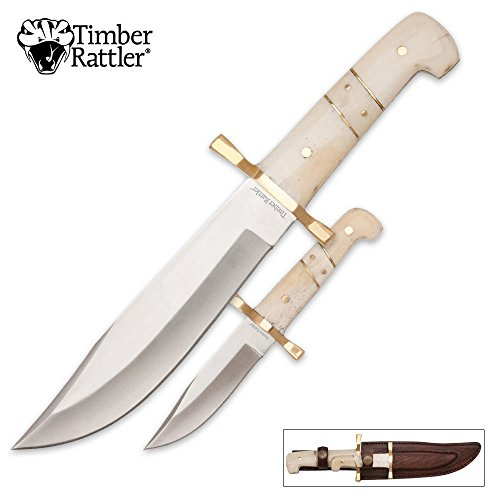 Timber Rattler Camel Bone Bowie Knife - 2-Knife Set with Lea
