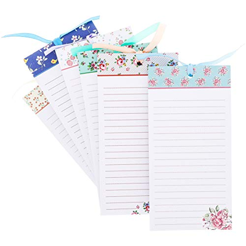 To-Do-List Notepad - 6-Pack Magnetic Notepads, Fridge Grocery List Magnet Memo Pad for Shopping, To Do List, Reminders, House Chores, Assorted Flower Designs, 60 Sheets Per Pad, 4 x 8 ()