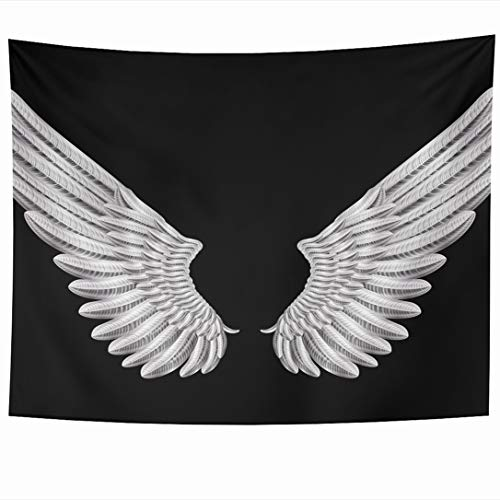 Ahawoso Tapestry 60x50 Inch Crow Angel Silver Wings Artificial Insignia Pigeon Raven Frame Wall Hanging Home Decor for Living Room Bedroom Dorm