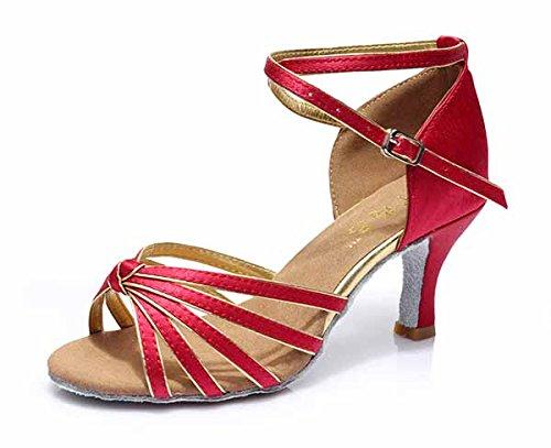 YFF Neue Women's Ballroom Latin Tango Schuhe 5 cm und 7 cm hohem Absatz,dunkel rot,7 cm,8.