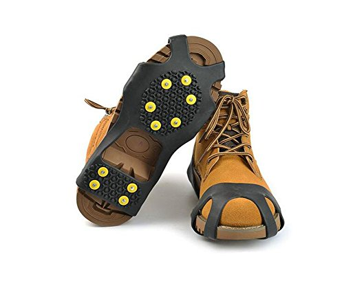 Black Anti Slip Traction Cleats-- 10 Steel Studs Stretchable Ice Spikes Grippers Crampon Snow Ice Traction Shoe Boot Cleats for Mountaineering Fishing Walking Climbing Snowfield (X-Large)