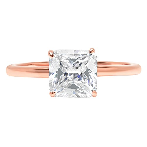 Asscher Brilliant Cut Classic Solitaire Designer Wedding Bridal Statement Anniversary Engagement Promise Ring Solid 14k Rose Gold, 1.7ct, 5.5 by Clara Pucci