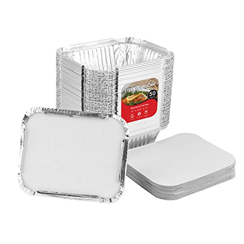 (Aluminum Foil Oblong Pans with Cardboard Lid Covers (50 Pack) Disposable Small Aluminum Foil 1 Lb Tin Pan Food Storage Containers for Cooking, Baking, Meal Prep and Takeout)