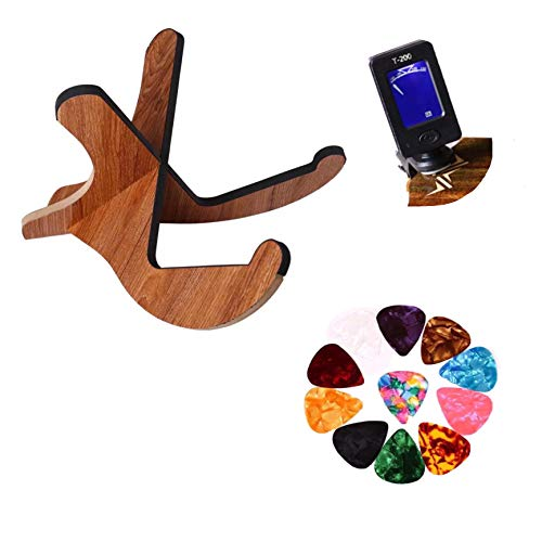 (Eden Skye Wooden Guitar Stand X Frame Style with Electric Travel Tuner and 5 Guitar Picks, Portable with Soft Rubber Coating for Acoustic, Bass, and Classical)
