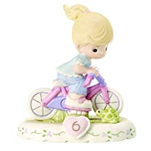 """Precious Moments 152012 """"Growing In Grace, Age 6"""" Girl Bisque Porcelain Figurine Birthday Gifts, Blonde"""