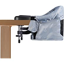 Clip On Table Chair, Steel Construction,High Load-Bearing Safety Design, 5-Point Harness with Removable Washable Seat, Portable & Foldable Space Saving, Vbestlife Hook On High Chair - Grey