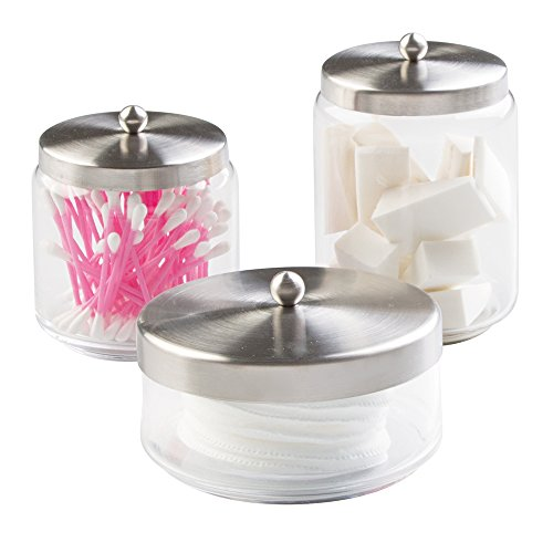 mDesign Bathroom Vanity Glass Apothecary Jars for Cotton Balls, Swabs, Cosmetic Pads - 3pc Set, Clear/Brushed