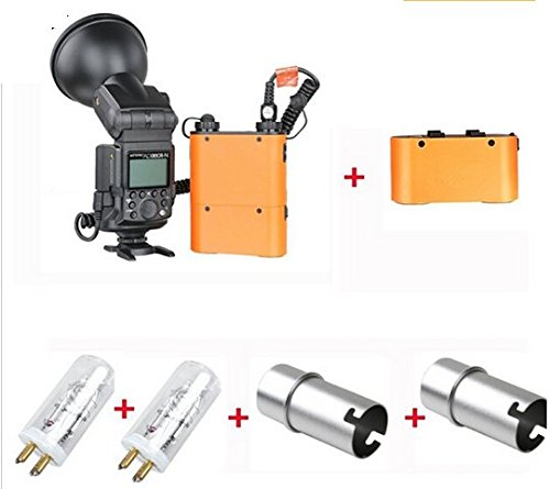 GOWE Bare Tube Camera Outdoor Flash+PB960 Power Battery Kit Orange Colour+2*Bulbs+BT4300 Battery+2* bulb covers 0
