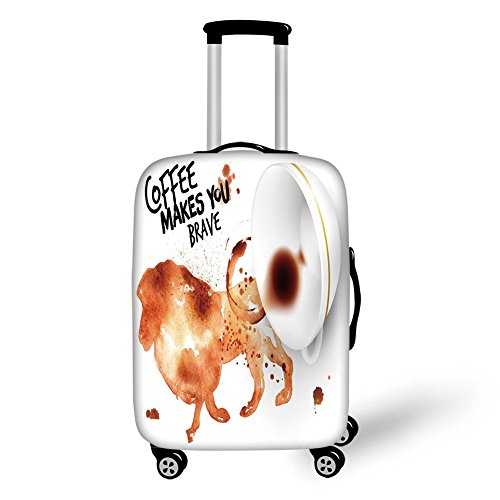 Travel Luggage Cover Suitcase Protector,Coffee Art,Be Brave and Courageous Inspiration Motivation Nature Wild Lion Decorative,Burnt Sienna Black White,for Travel