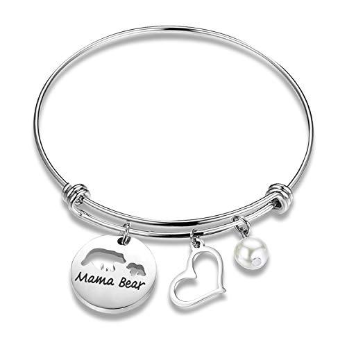 (KUIYAI Sweet Mama and Baby Bear Round Pendant Necklace for Mother (Bracelet 1cub Cutout))