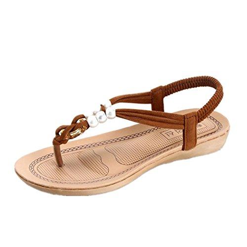 DDLBiz Women's Bohemian Flat Summer Shoes Bandage Leisure Sandals Casual Shoes (US:6(9.1''-9.3
