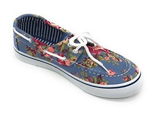 Blauwe Bes Easy21 Vrouwen Canvas Ronde Neus Lace Up Platte Sneaker Oxford Bootschoen Licht Denim Bloem
