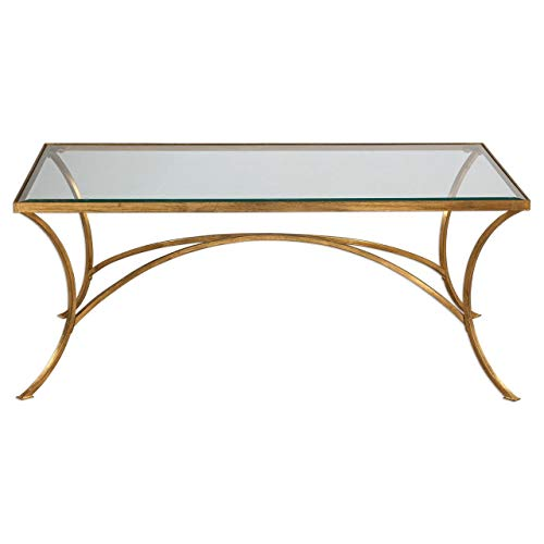 Uttermost 24639 Alayna Contemporary Antiqued Gold Rectangular Coffee Table