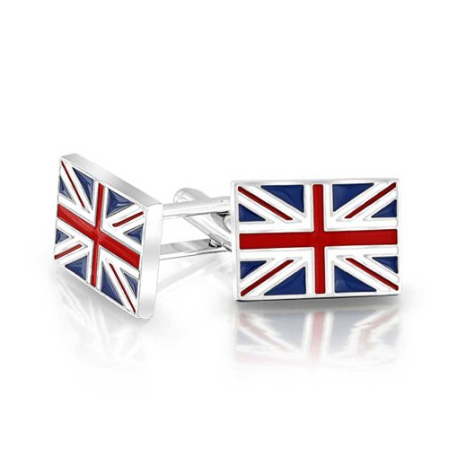 Bling Jewelry Mens Union Jack UK British Flag Cufflinks Rhodium Plated Enamel Rhodium Cufflinks Cufflink