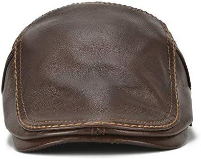 野球帽 キャスケット メンズ ハット ゴルフ 革 防風 調整可能 日よけ ハンチング 56-60cm LWQJP (Color : 淡い茶色, Size : One Size)
