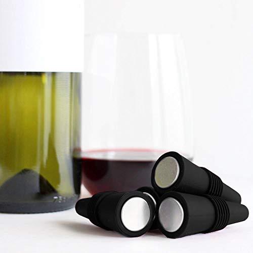 Wine Stopper Wine Bottle Stoppers Silicone for Wine Beverage Soda Beer Keep Freshness, Reusable Wine Corks Set of 8 PK, Black