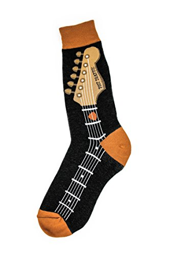 Foot Traffic - Men's Music-Themed Socks, Guitar Neck (Shoe...