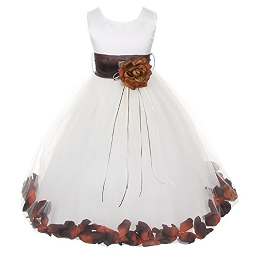 Baby Infant Toddler White Sleeveless Satin Bodice Floating Flower Petals Girl Dress with Matching Organza Sash and Double Tulle Skirt - Chocolate Set - Size X-Large