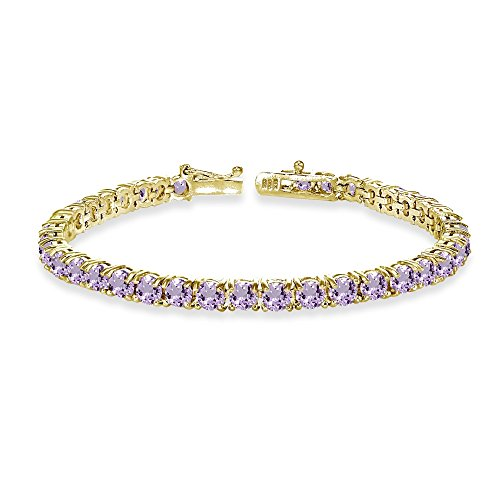 (GemStar USA Yellow Gold Flashed Sterling Silver 4mm Amethyst Round-cut Tennis Bracelet)