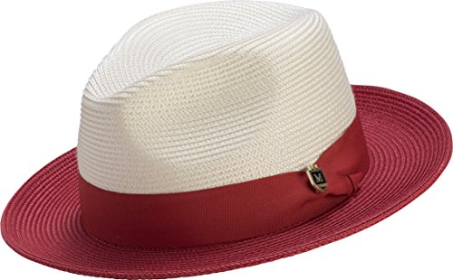 Trim Brim Hat (Montique Classic Straw Fedora, Two-tone Wide Brim Pinch Hat, with Color Accent Brim and Grosgrain Ribbon Trim, Large, Red, H-47)