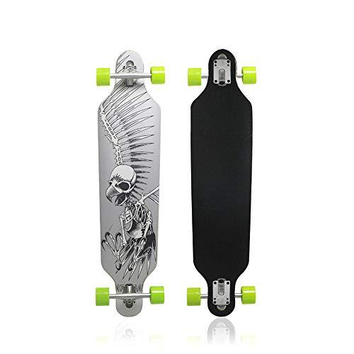 - MammyGol Longboard Skateboard 42 Inch Maple Skateboard Drop Through Complete Cruiser,Gray Skull