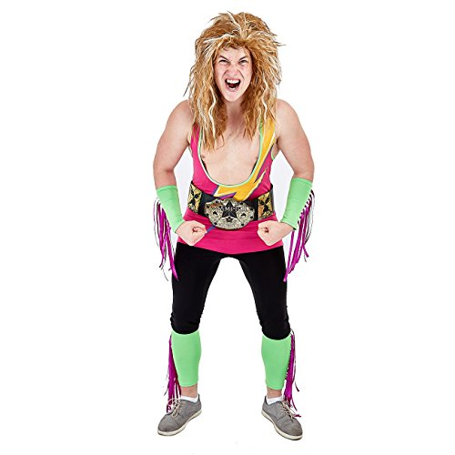 Charm Rainbow Men's 80's Wrestler Costume Retro Outfit for Halloween Theme Party(L)