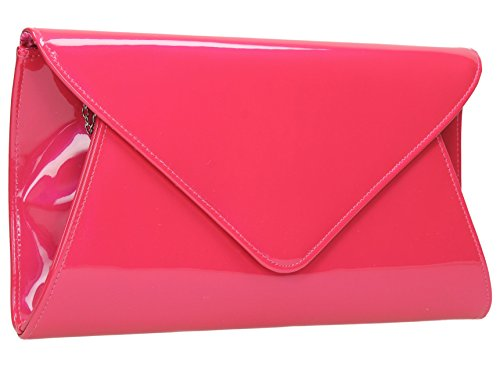 Party Pink Juliet Prom Evening Leather Envelope Womens Flapover Patent Bag Clutch Bridal Zw07P
