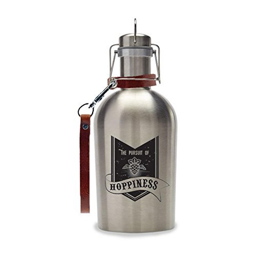 Wink Micro Bro Hipster Stainless Steel Beer Growler with Strap 64 FL OZ