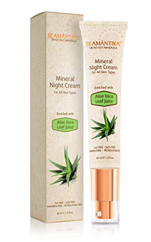Moisturizer Mineral Night Cream - For All Skin Types Ultra-Soothing Aloe Vera Juice. Breakthrough Anti-Wrinkle Technology - For Face and Neck By SEAMANTIKA