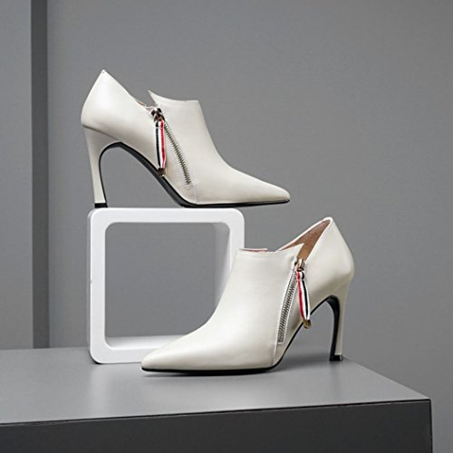 Casual High Reißverschluss Pumps Stiefel Frauen Größe Heels Pumps Damenschuhe GAOLIXIA Business Formale Heels Schuhe white Creamy Stiletto Mode England Spitz AZa4pPqE