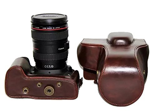 CEARI Detachable Protective Leather Camera Case for Canon EOS 5D Mark II III 5D2 5D3 24-105mm + MicroFiber Clean Cloth - Coffee