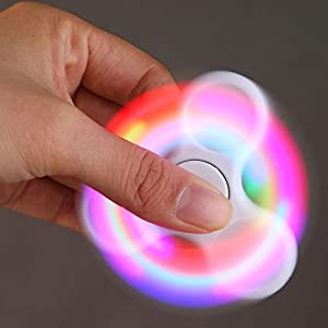 Hot Sale! AMA(TM) LED Light Fidget Hands Spinner Fingertip Bearing Toy EDC Focus ADHD Autism Decompression Gyro (White)