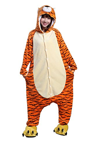 Apiidoo Unisex Tiger Cartoon Costume One Piece Pajama Cosplay Animal Fancy Dress (Grown Up Halloween Costumes Ideas)