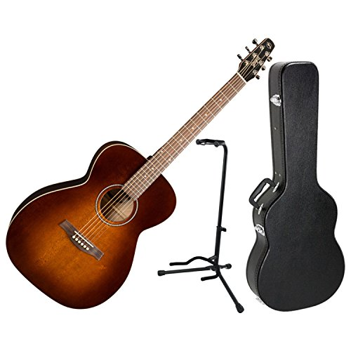 Seagull 041848 S6 Original SLIM Concert Hall Burnt Umber GT Acoustic Electric Guitar w/ Hard Case and Stand