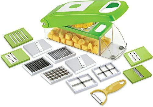 Randal High Quality Unbreakable 12 in 1 Slicer Dicer for Vegitables & Fruits (Green)