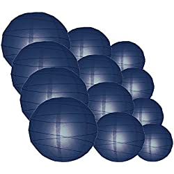 Quasimoon IRR-NBL-CP12 12pcs Pack (12/10/8 Inch) Paper Lanterns Crisscross Ribbing, Navy Blue, 12 Piece Set
