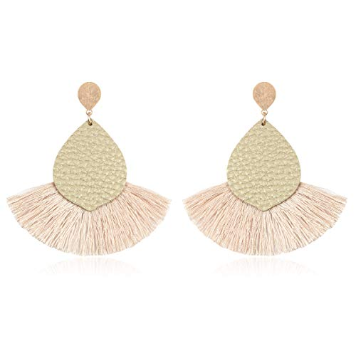 RIAH FASHION Bohemian Fan Tassel Drop Earrings - Embellished Thread Fringe Statement Round Half Circle, Clover, Teardrop Leatherette Dangle Earrings (Leatherette Teardrop - Gold)